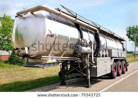 oil tanker semi-truck - stock photo