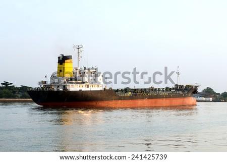 Oil Tanker Ship in the Chao Phraya river - stock photo