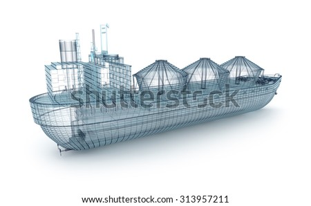 Oil tanker ship wire model isolated on white. My own design - stock photo