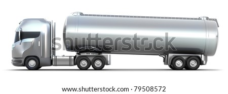 Oil Tanker truck. Isolated 3D image . MY OWN DESIGN - stock photo