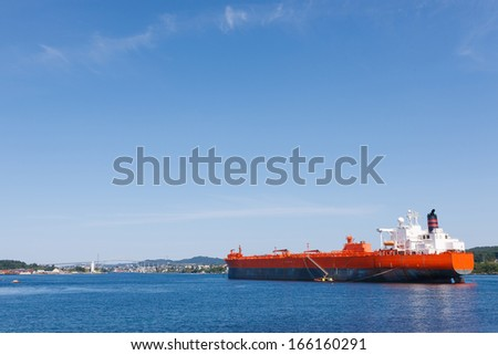Oil tanker vessel waiting for a docking - stock photo