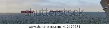 Oil tankers anchored in the Columbia river near  Astoria, Oregon