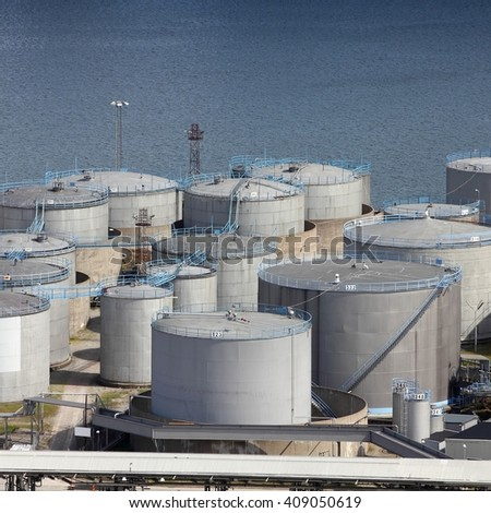 Oil tanks and other silos at Stockholm sea port. Sweden. - stock photo