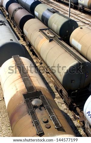 oil trains in the French industrial park of Fos on sea beside Marseille - stock photo