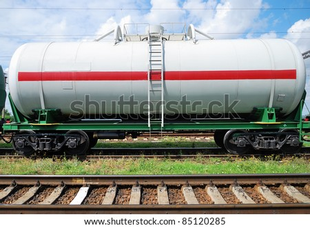 Oil transportation in the railroad tank - stock photo
