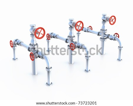 Oil Valves system. - stock photo