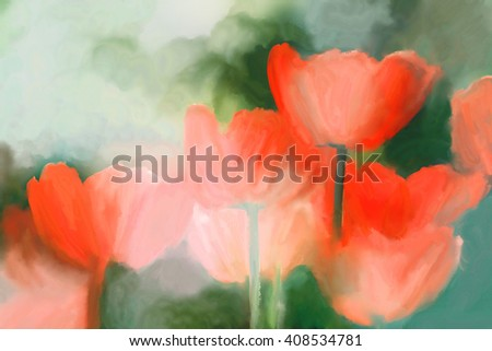 oil watercolor red tulip painting in spring garden - stock photo