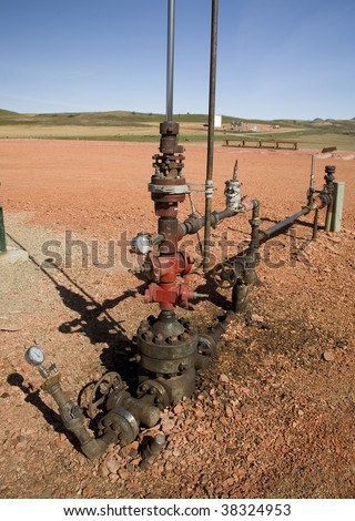 oil well head valves and metering - stock photo