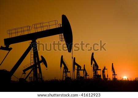 Oil well Silhouette - stock photo