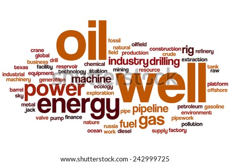 Oil well word cloud concept with gas industry related tags - stock photo