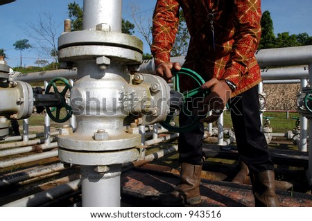 oil worker - stock photo