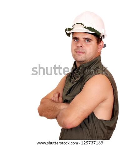 oil worker posing on white - stock photo