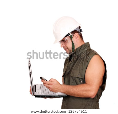 oil worker with laptop and phone on white - stock photo