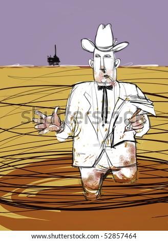Oily oil man explains another drilling disaster. Raster illustration. - stock photo