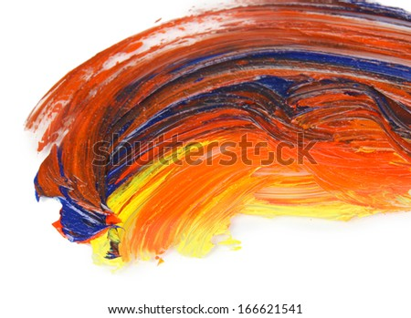 Oily paint brushstrokes isolated on white - stock photo