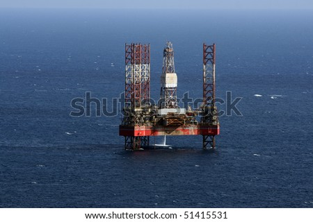 oir rig out at sea in Malta - stock photo