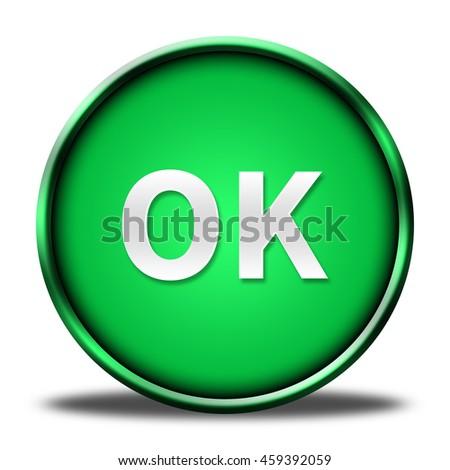 ok button isolated. 3D illustration  - stock photo