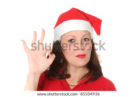 ok christmas girl - stock photo