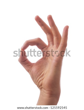 Ok. Gesture of the hand on white background - stock photo