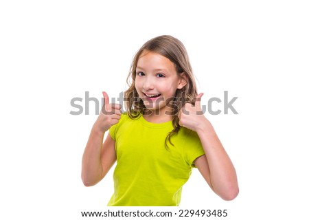 ok gesture thumb up gunny happy kid girl on white background - stock photo