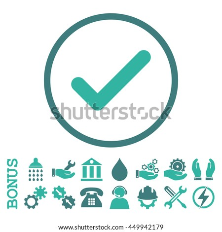 Ok glyph bicolor icon. Image style is a flat pictogram symbol inside a circle, cobalt and cyan colors, white background. Bonus images are included. - stock photo