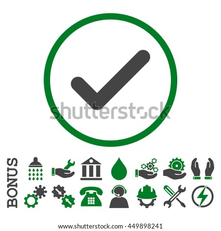 Ok glyph bicolor icon. Image style is a flat pictogram symbol inside a circle, green and gray colors, white background. Bonus images are included. - stock photo