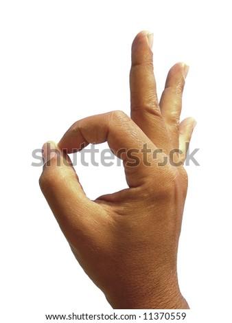 OK hand sign isolated on white - stock photo
