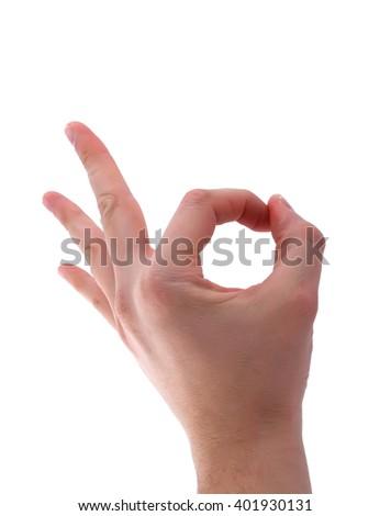 Ok hand sign isolated on white background  - stock photo