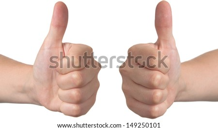 Ok hand, thumbs up, isolated on white