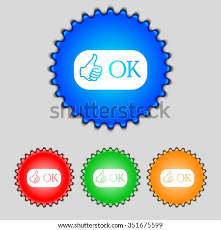 Ok sign icon. Positive check symbol. Set of colored buttons. illustration