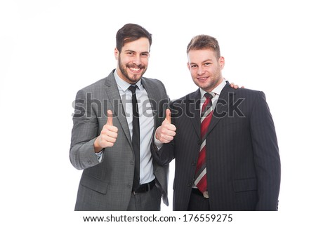 ok sign of two businessmen very confident, sales agents on white background - stock photo