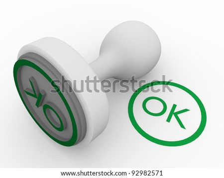 Ok sign printed in green by a stamp - stock photo