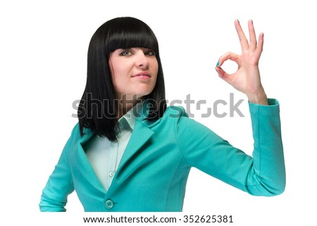 OK sign woman. Businesswoman showing okay hand sign. Successful and beautiful caucasian business woman isolated on white background. - stock photo