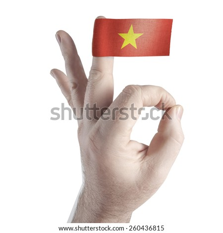 OK symbol and the flag of Vietnam - stock photo