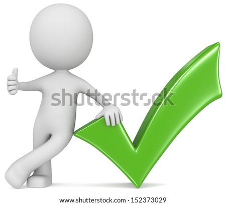 OK. The Dude giving thumb up next to a check mark. Blue. - stock photo