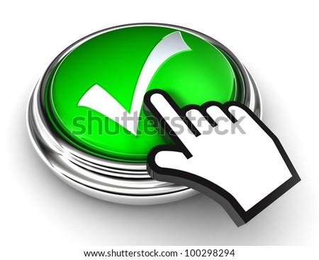 ok tick check mark symbol on green button with cursor hand on white background. clipping paths included