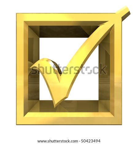 ok tick in gold isolated - 3D - stock photo