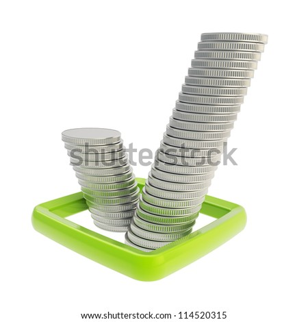 Ok tick sign green checkbox made of silver coin stacks isolated on white background - stock photo
