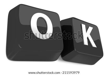 OK written in white on black computer keys. 3d illustration. Isolated background. - stock photo