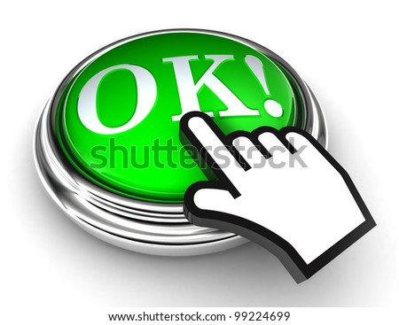 okey red button and cursor hand on white background. clipping paths included - stock photo