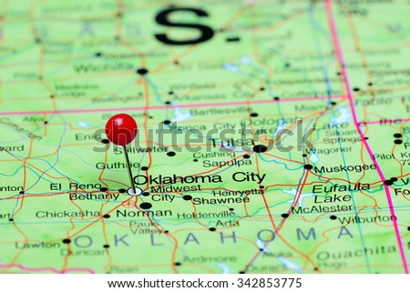 Oklahoma City pinned on a map of USA  - stock photo