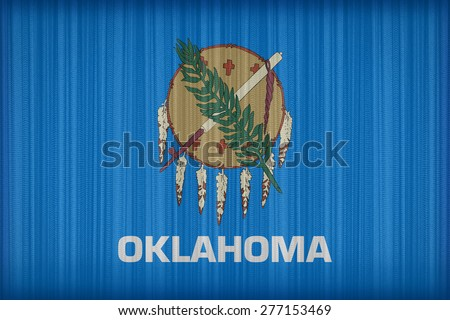 Oklahoma flag pattern on the fabric curtain, vintage style - stock photo