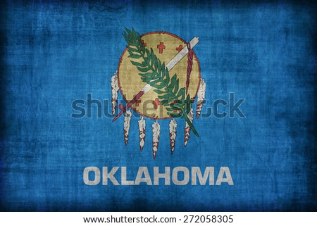 Oklahoma flag pattern, retro vintage style - stock photo
