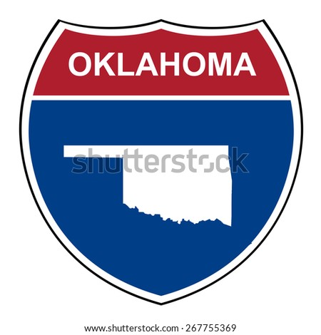 Oklahoma interstate highway road shield isolated on a white background. - stock photo
