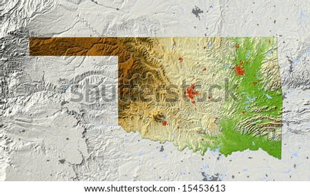 Oklahoma. Shaded relief map, with major urban areas and rivers, surrounding territory greyed out. Colored according to elevation. Clipping path for the state area included. Data source: NASA - stock photo