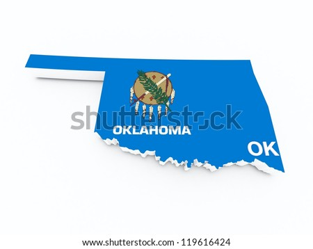 oklahoma state flag on 3d map