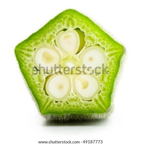 okra cross section, high magnification. - stock photo