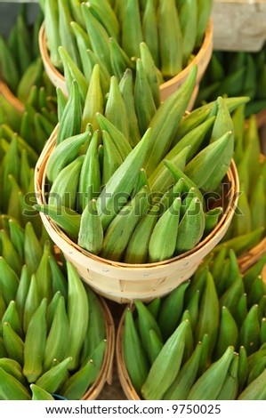 Okra for sale on a open air market stall