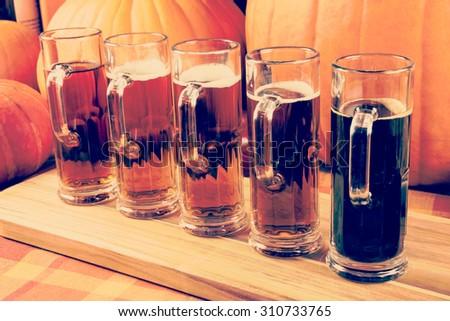 Oktoberfest Craft Beer Flight - stock photo