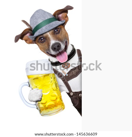 oktoberfest dog with  a beer mug ,smiling happy behind a placard - stock photo